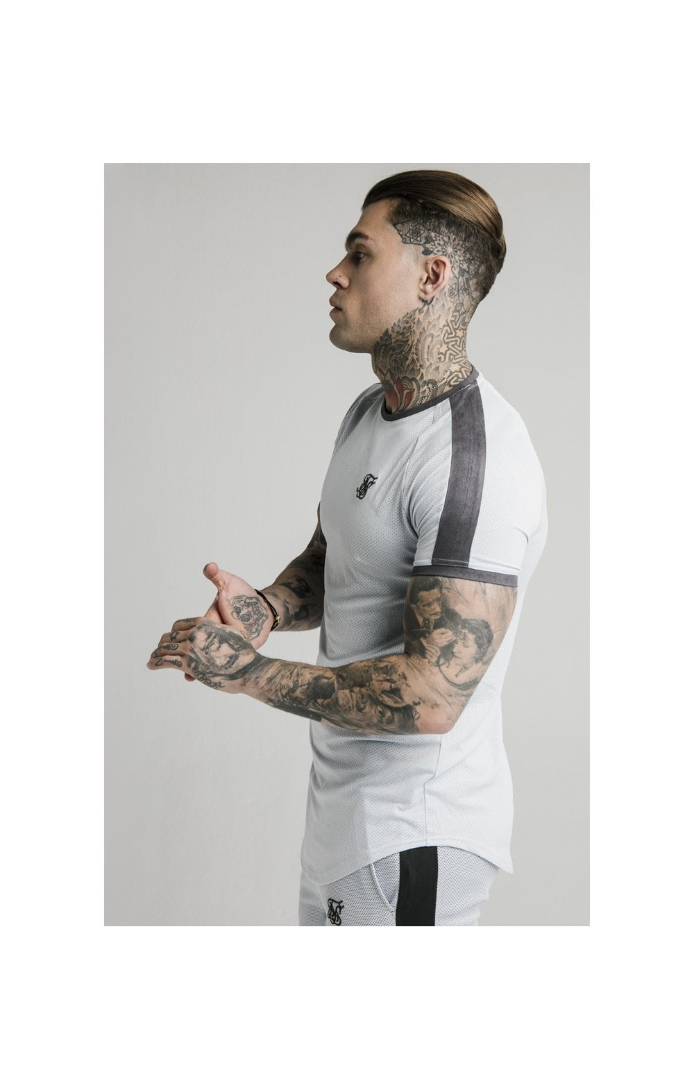 SikSilk S/S Panel Eyelet Tech Tee – Ice Grey