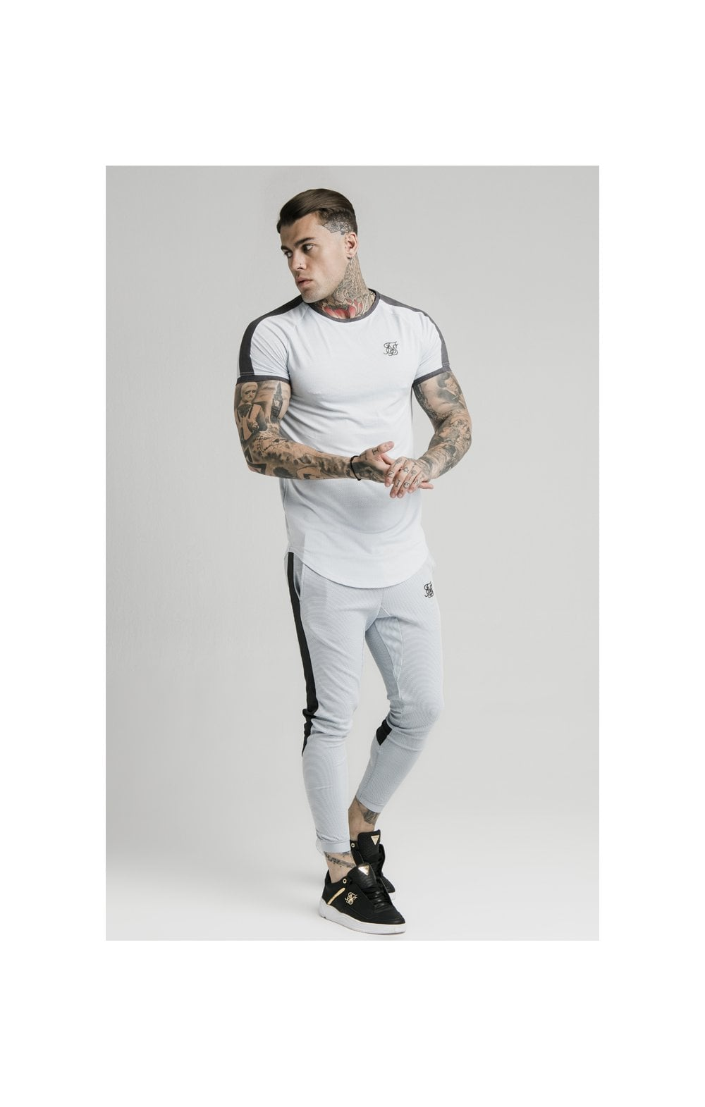 SikSilk S/S Panel Eyelet Tech Tee – Ice Grey (1)