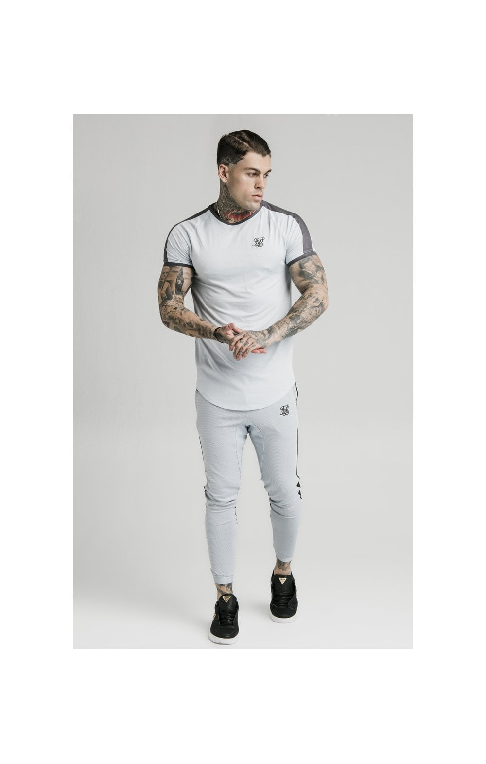 SikSilk S/S Panel Eyelet Tech Tee – Ice Grey (2)