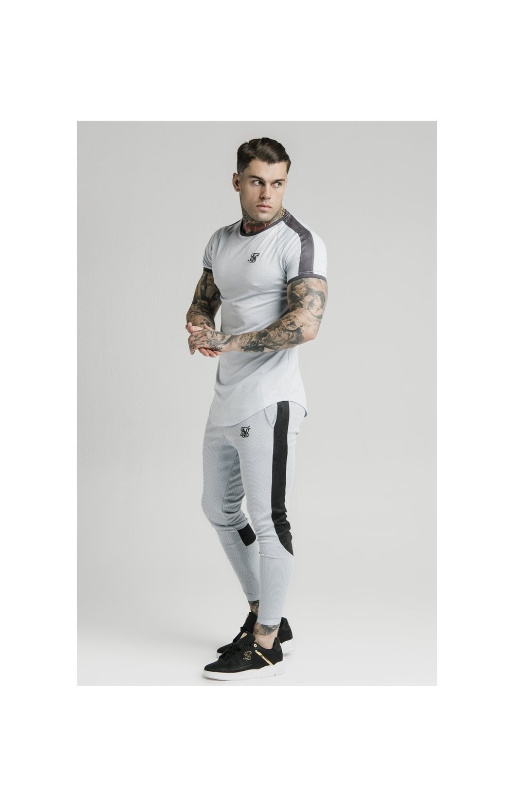 SikSilk S/S Panel Eyelet Tech Tee – Ice Grey (3)