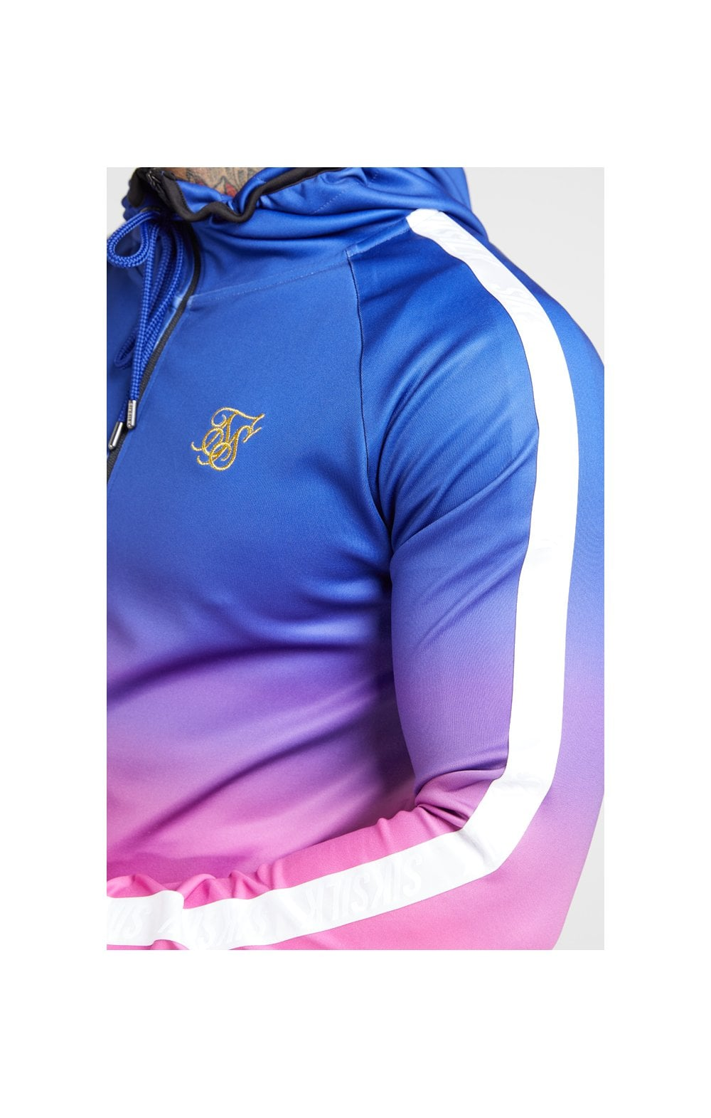 SikSilk Athlete Fade Zip Through Hoodie – Blue Neon