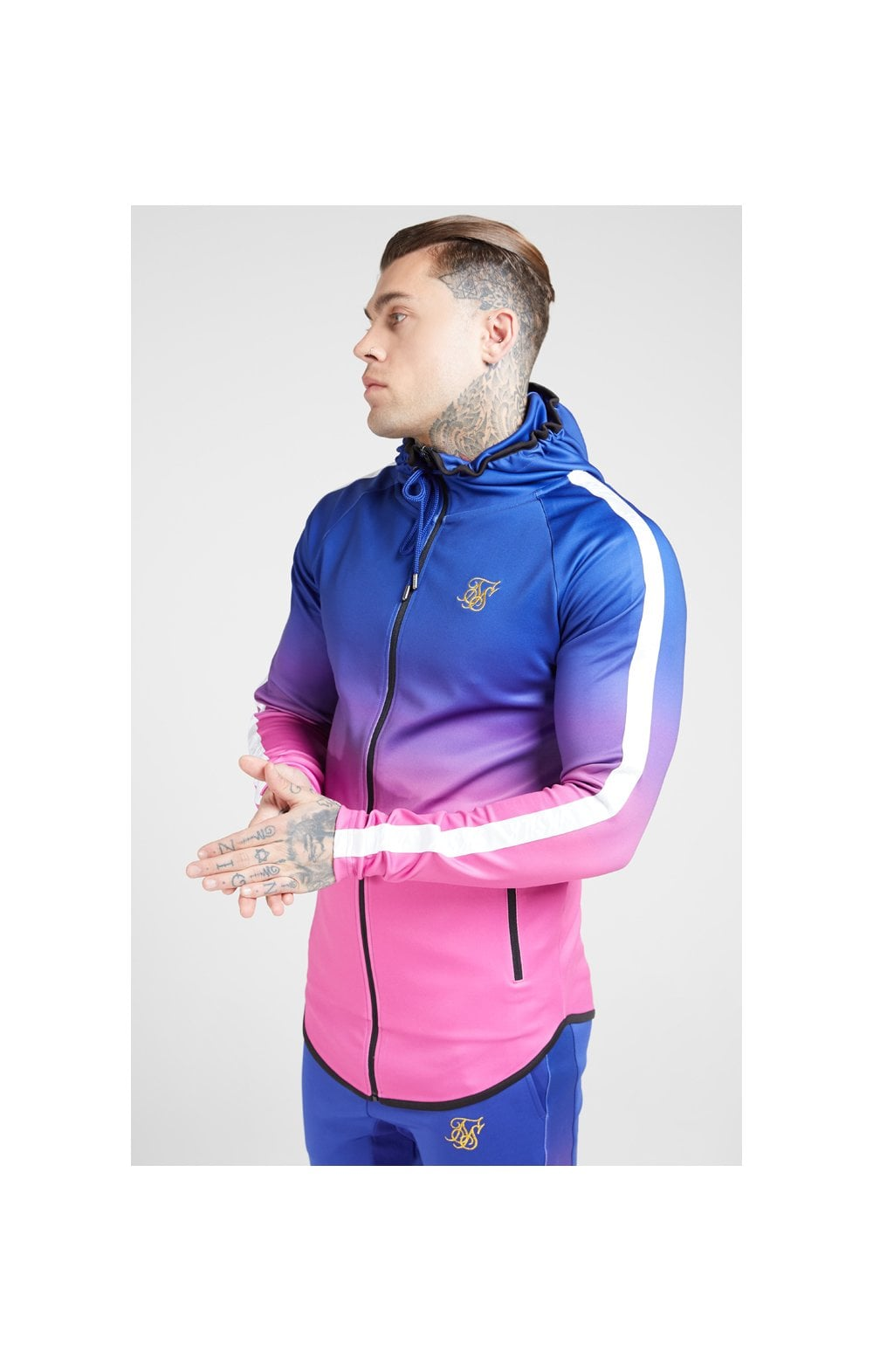 SikSilk Athlete Fade Zip Through Hoodie – Blue Neon (1)