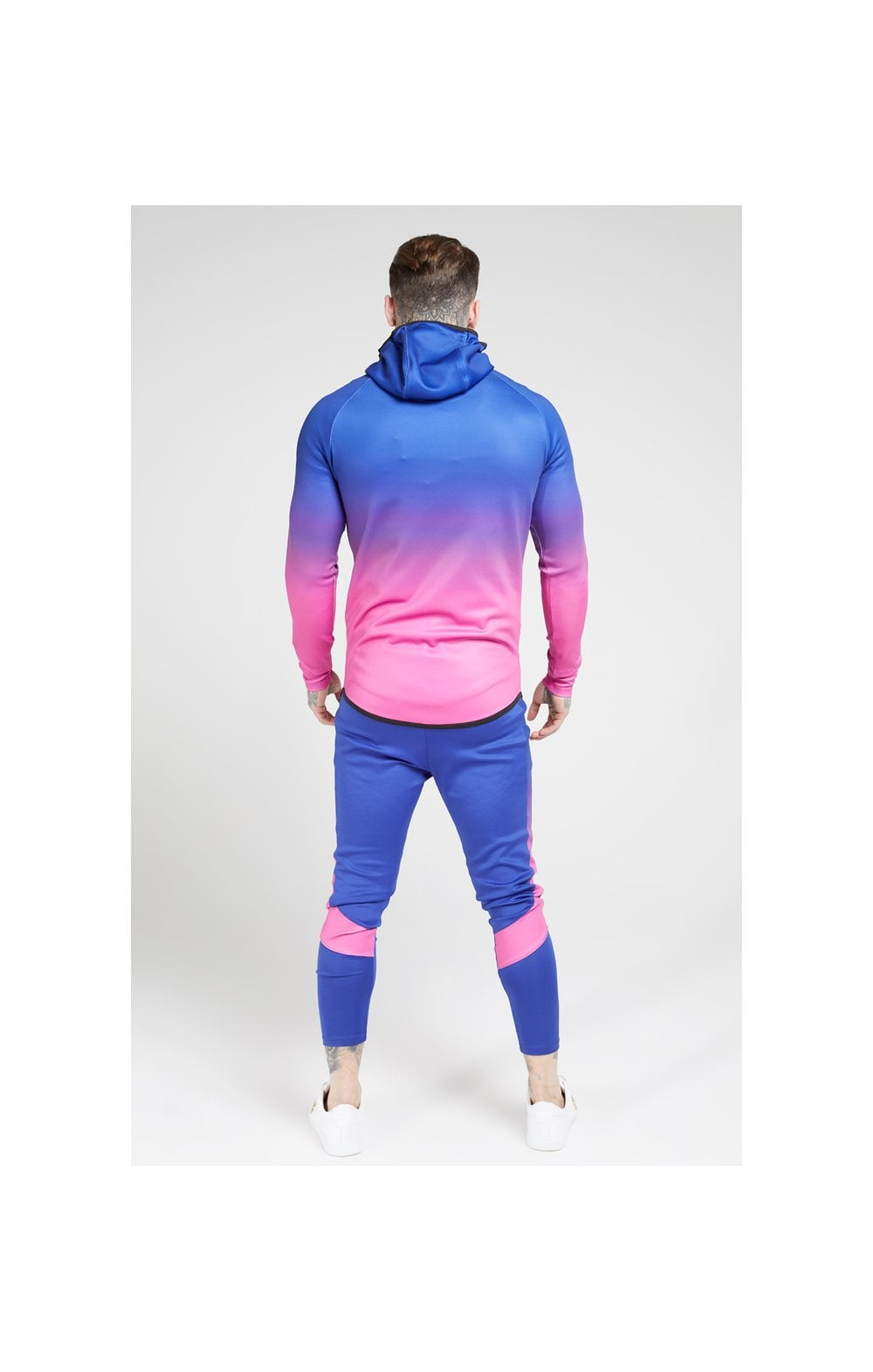 SikSilk Athlete Fade Zip Through Hoodie – Blue Neon (4)