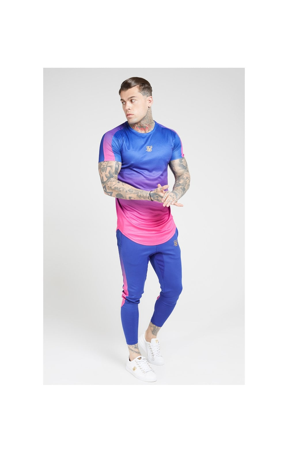 Load image into Gallery viewer, SikSilk S/S Marl Fade Panel Tech Tee – Neon Blue (3)