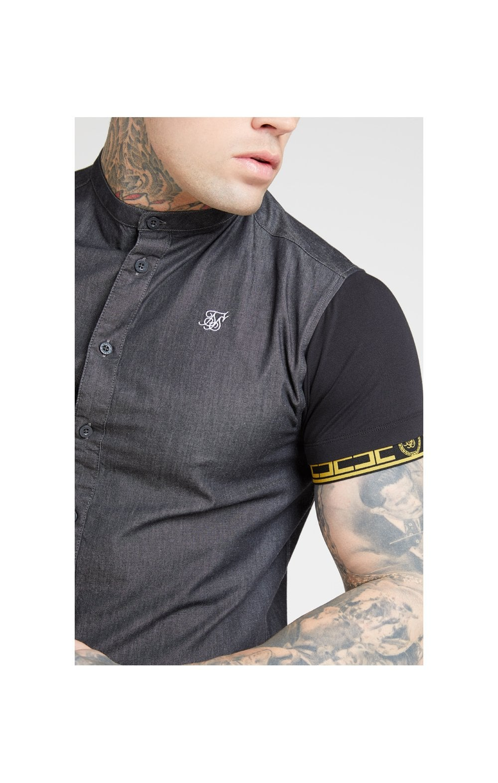 SikSilk S/S Denim Shirt – Black