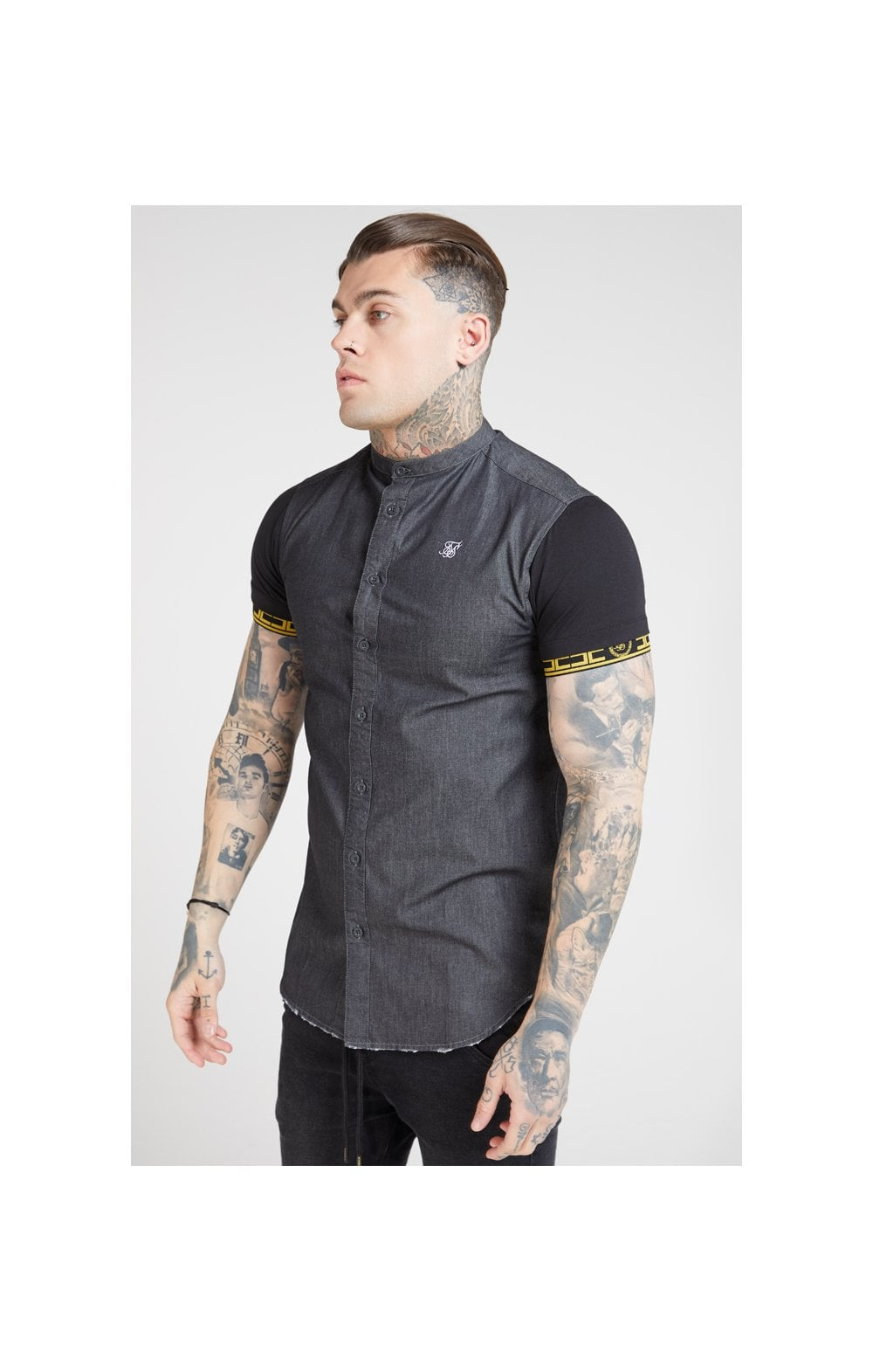 SikSilk S/S Denim Shirt – Black (1)