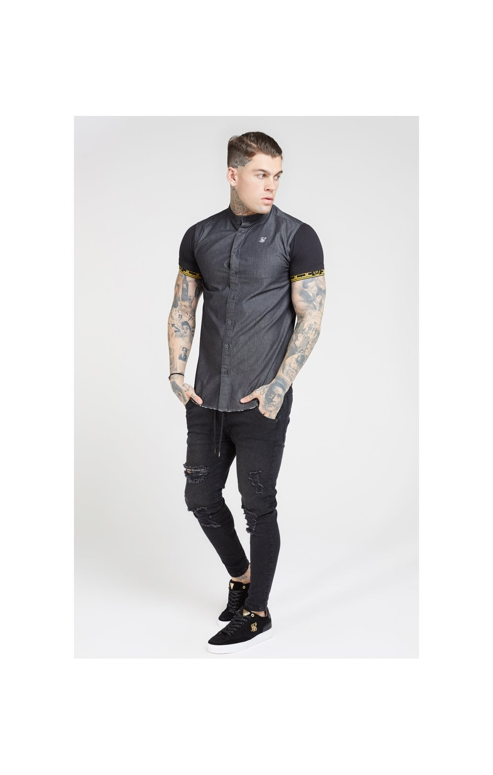 SikSilk S/S Denim Shirt – Black (3)