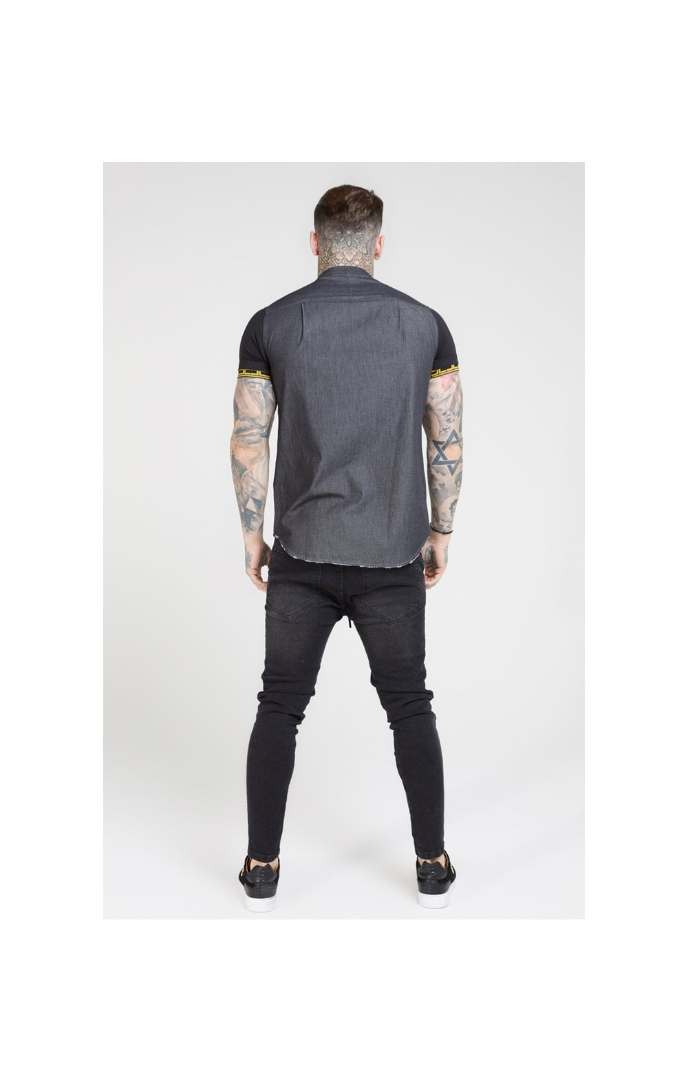 SikSilk S/S Denim Shirt – Black (4)