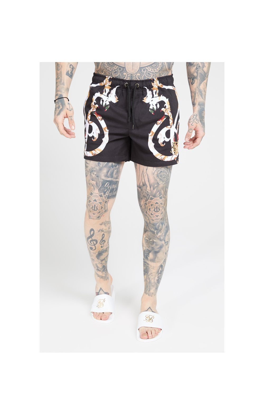 SikSilk Standard Swim Shorts – Floral Scroll
