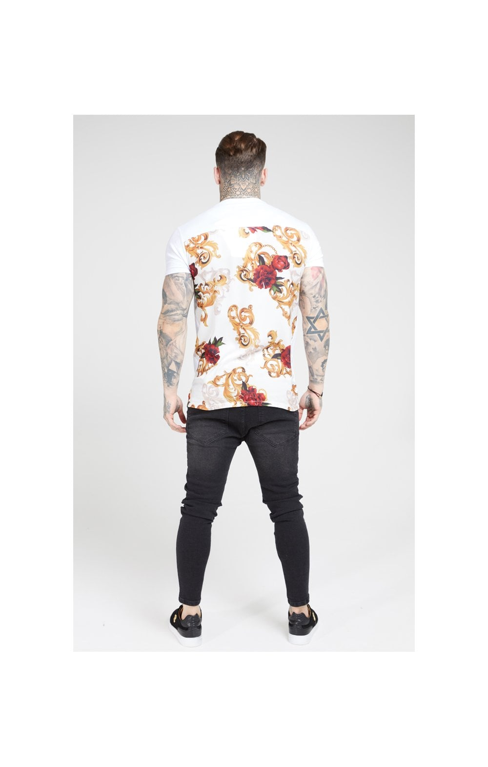 Load image into Gallery viewer, SikSilk S/S Reverse Collar Tee – White & Floral Elegance (5)
