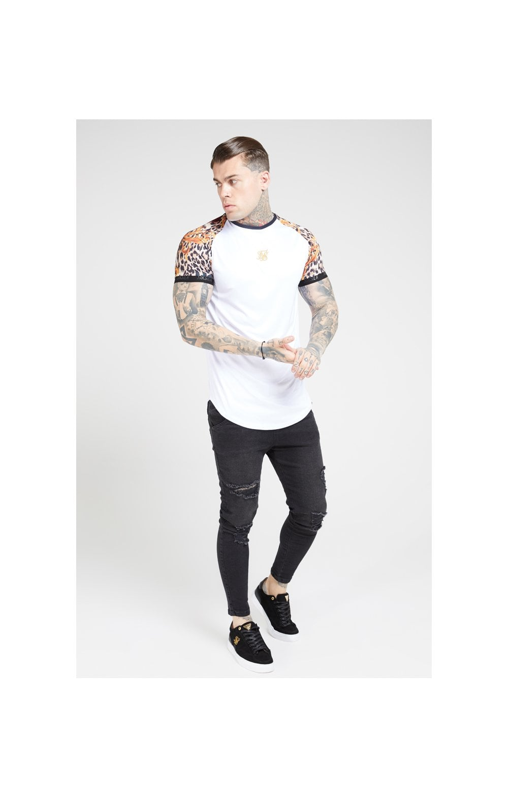 Load image into Gallery viewer, SikSilk S/S Curved Hem Raglan Tech Tee - White & Floral Leopard (2)
