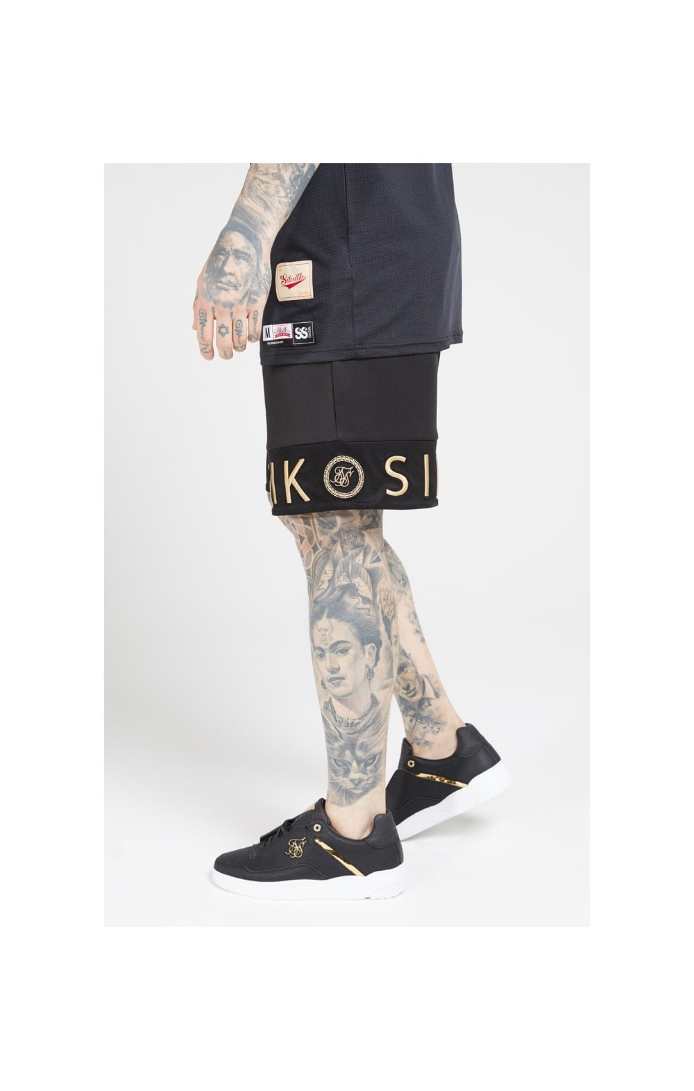 SikSilk Relaxed Shorts - Black & Gold (1)