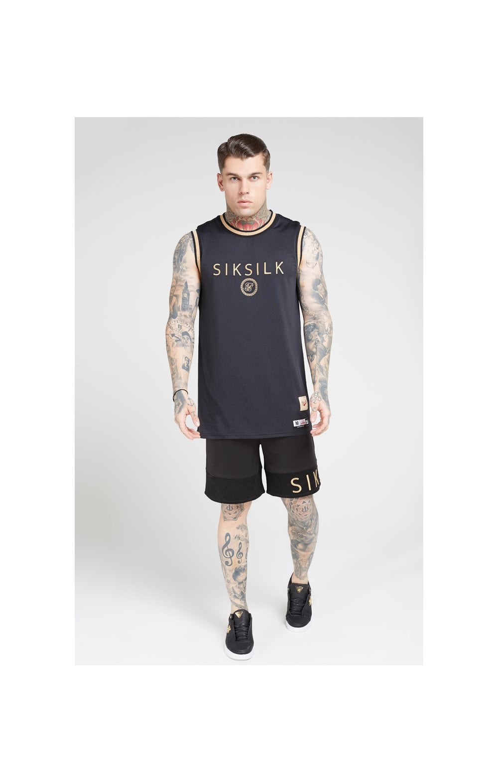 SikSilk Relaxed Shorts - Black & Gold (4)