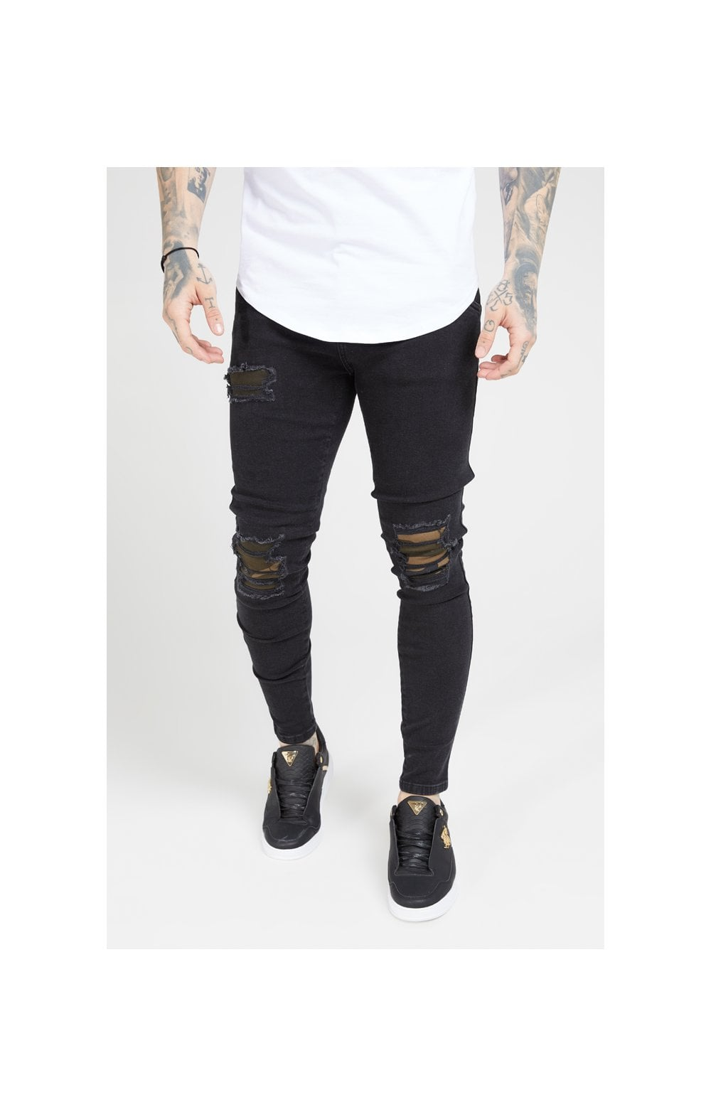 Load image into Gallery viewer, SikSilk Burst Knee Low Rise Denims - Washed Black & Camo (1)