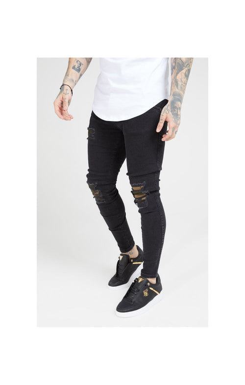 SikSilk Burst Knee Low Rise Denims - Washed Black & Camo