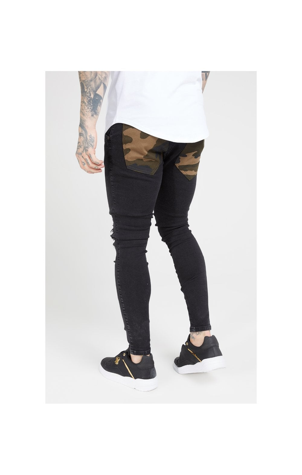 Load image into Gallery viewer, SikSilk Burst Knee Low Rise Denims - Washed Black & Camo (2)