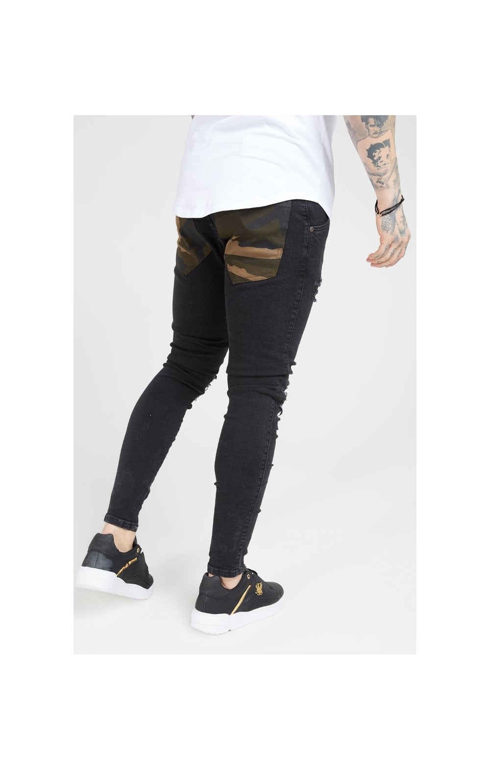 Load image into Gallery viewer, SikSilk Burst Knee Low Rise Denims - Washed Black & Camo (3)