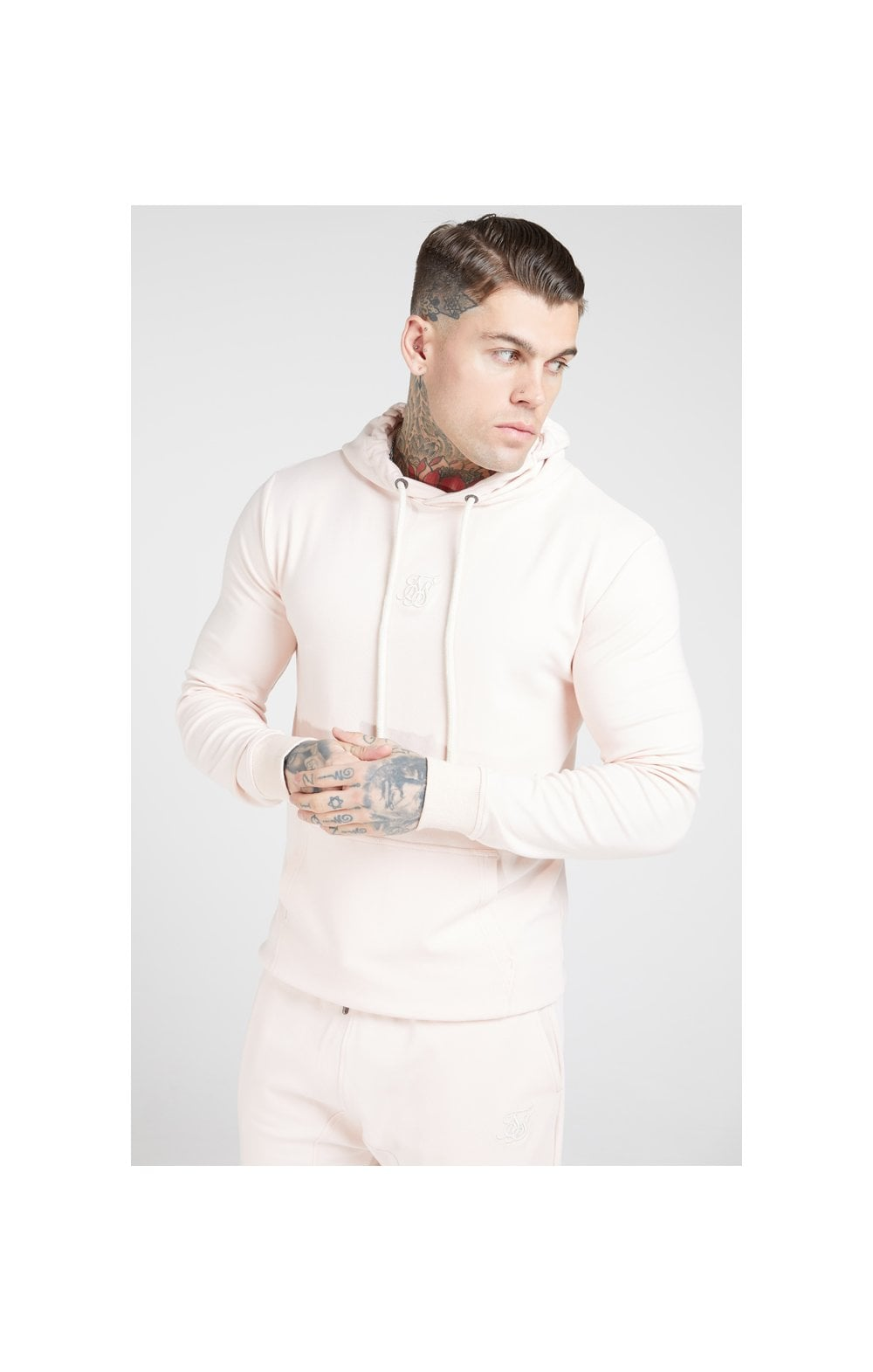 SikSilk Overhead Muscle Fit Hoodie - Cloudy Pink (1)