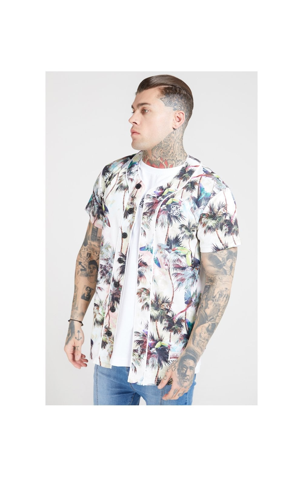 SikSilk Original Baseball Jersey – Beige & Black