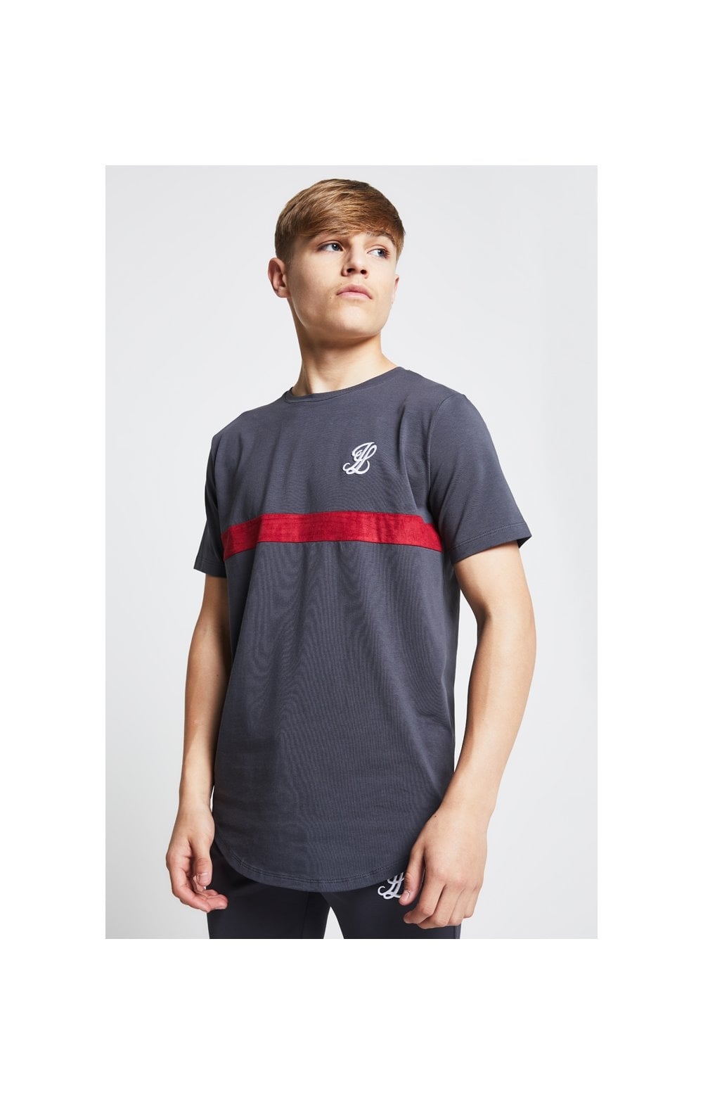 Illusive London Contrast Cut & Sew Tee - Grey & Pink (1)