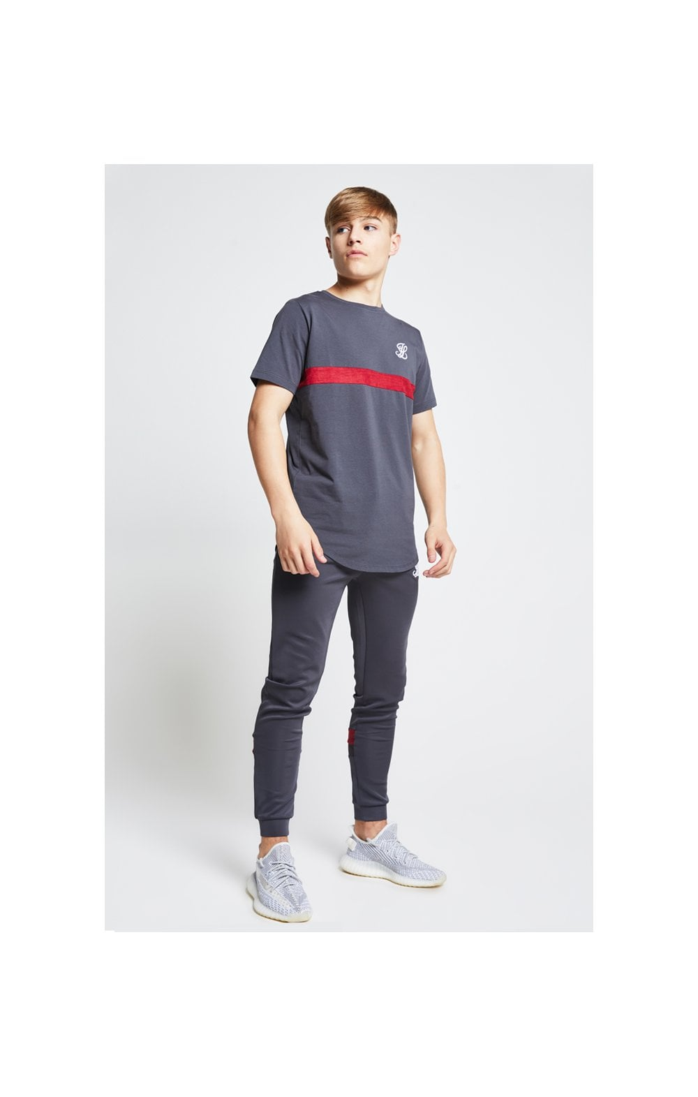 Illusive London Contrast Cut & Sew Tee - Grey & Pink (4)