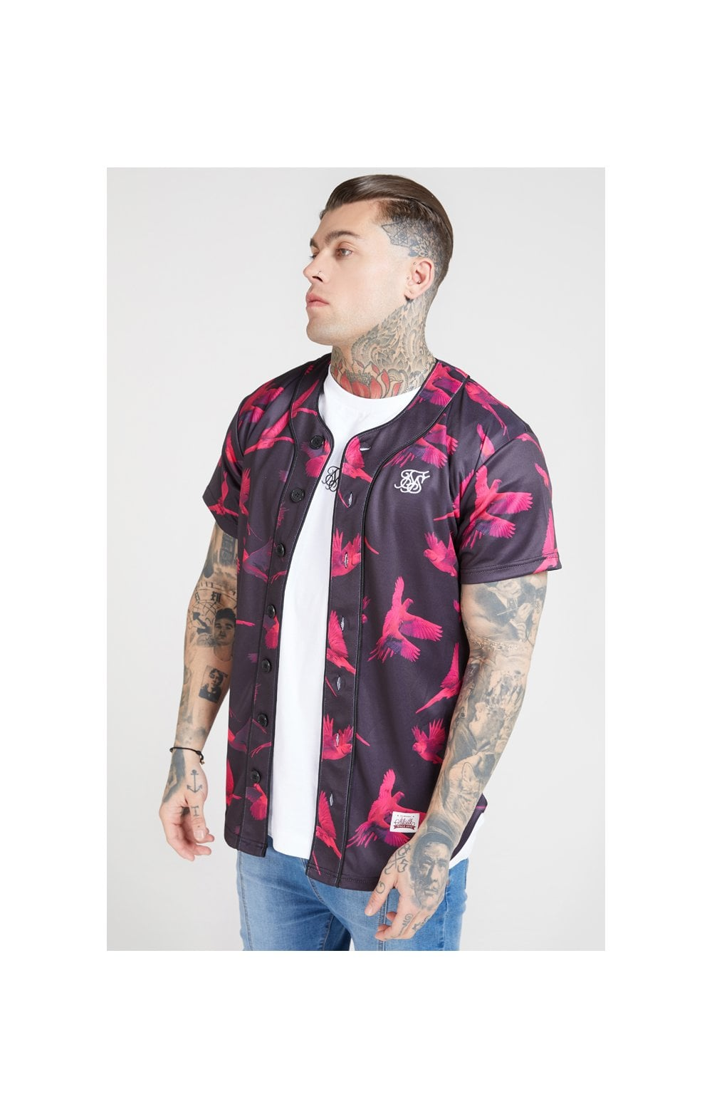 SikSilk Original Baseball Jersey – Black & Pink (1)