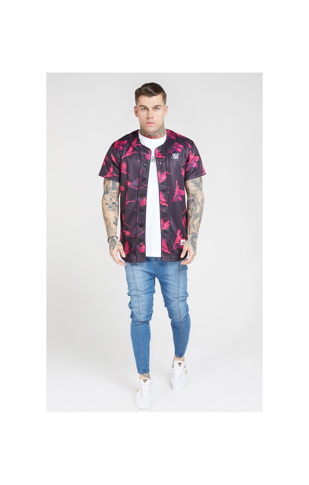 SikSilk Original Baseball Jersey – Black & Pink (3)