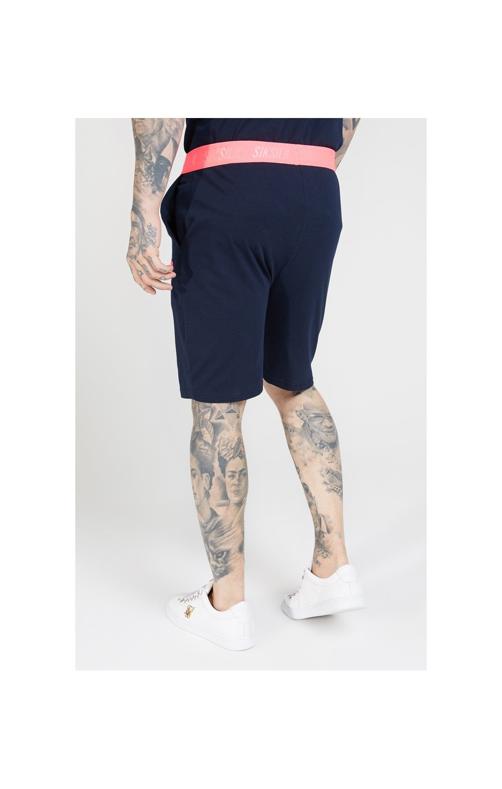SikSilk Relaxed Fit Shorts –  Navy & Neon Pink (1)