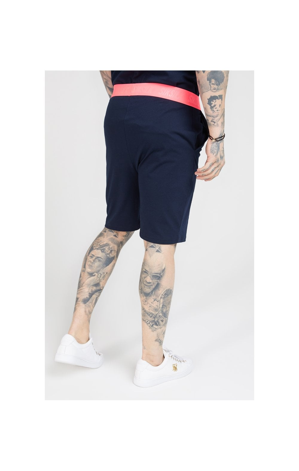 SikSilk Relaxed Fit Shorts –  Navy & Neon Pink (2)