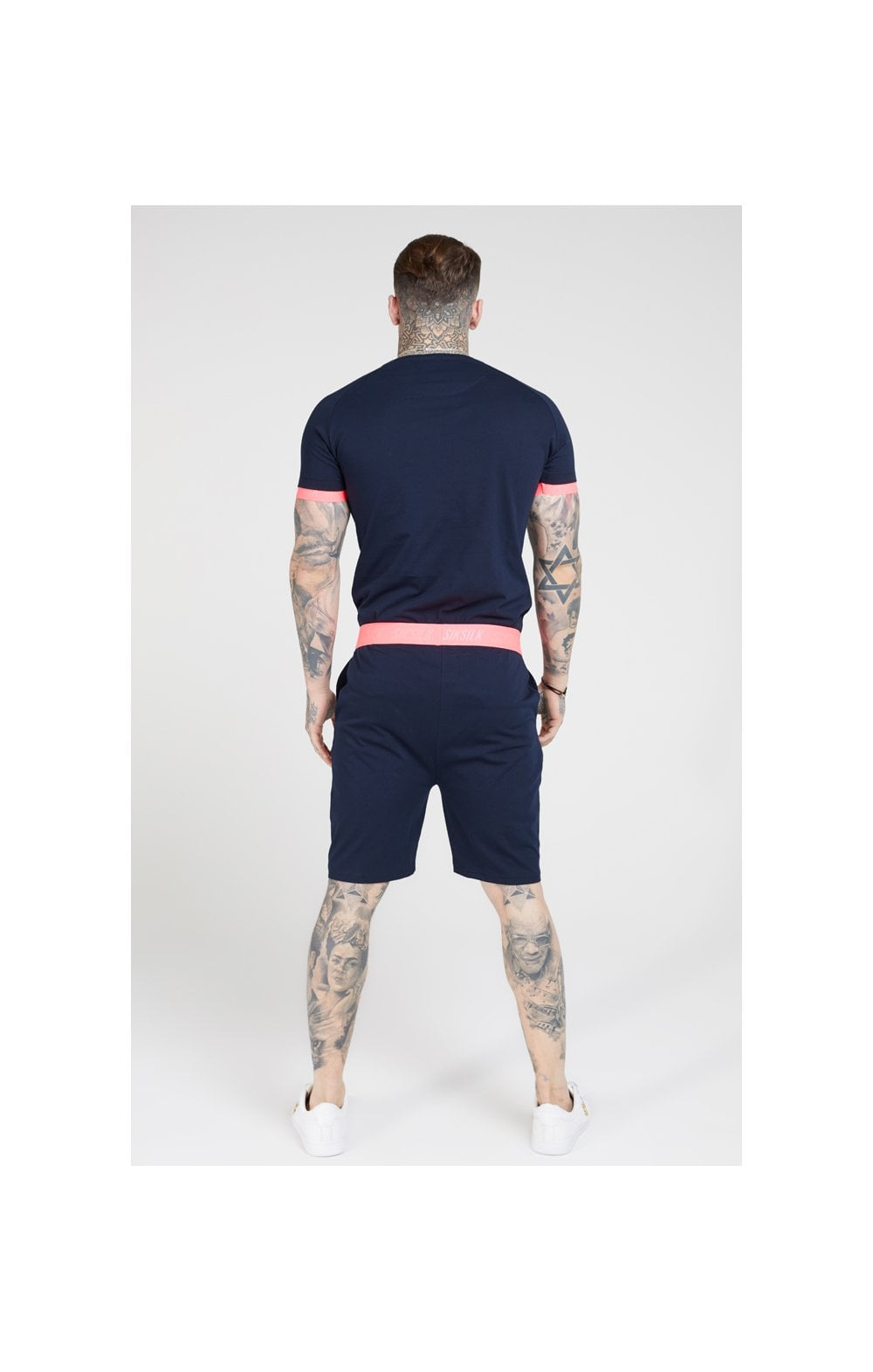 SikSilk Relaxed Fit Shorts –  Navy & Neon Pink (5)