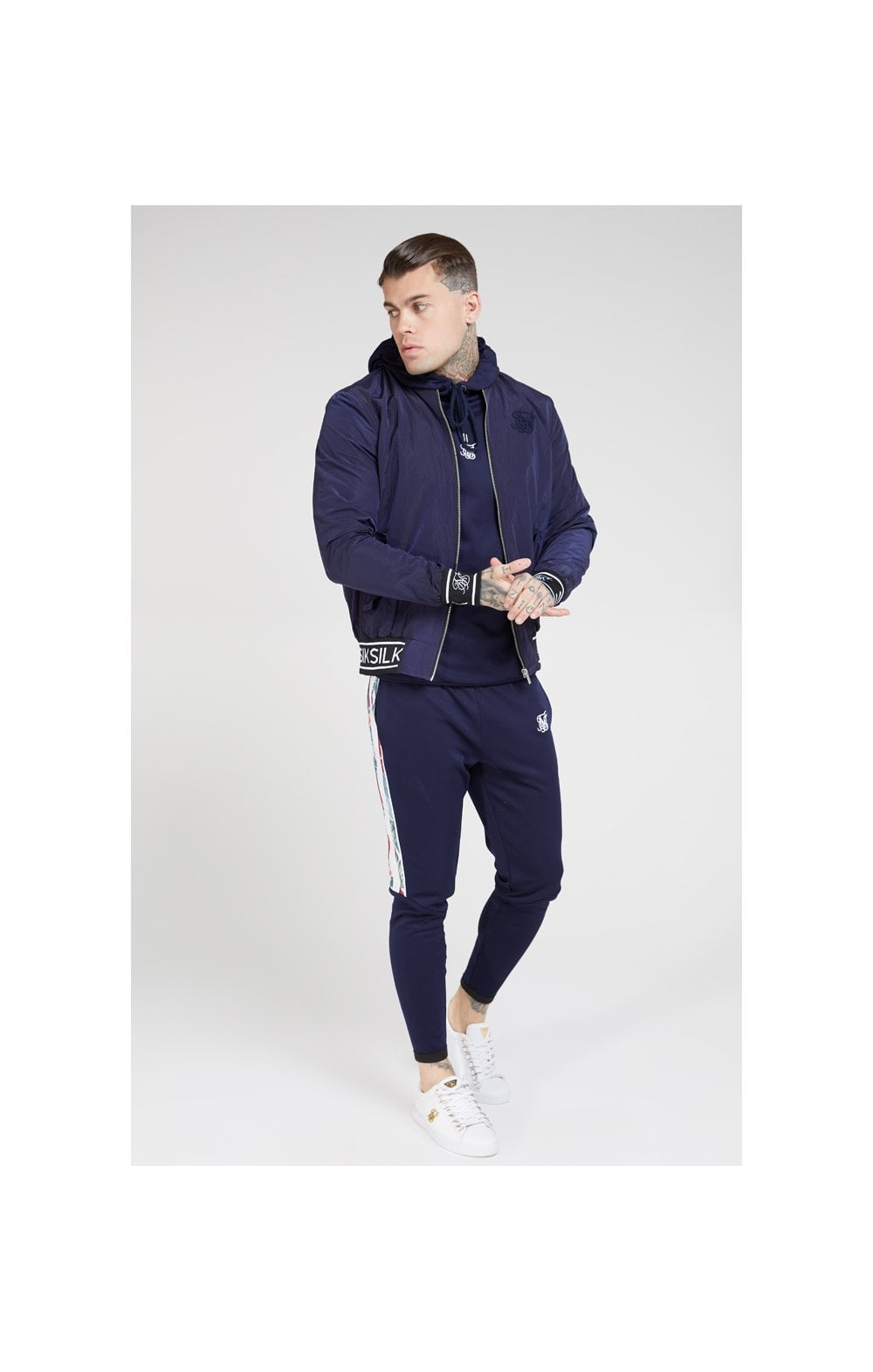 SikSilk Nylon Bomber Jacket – Navy (2)