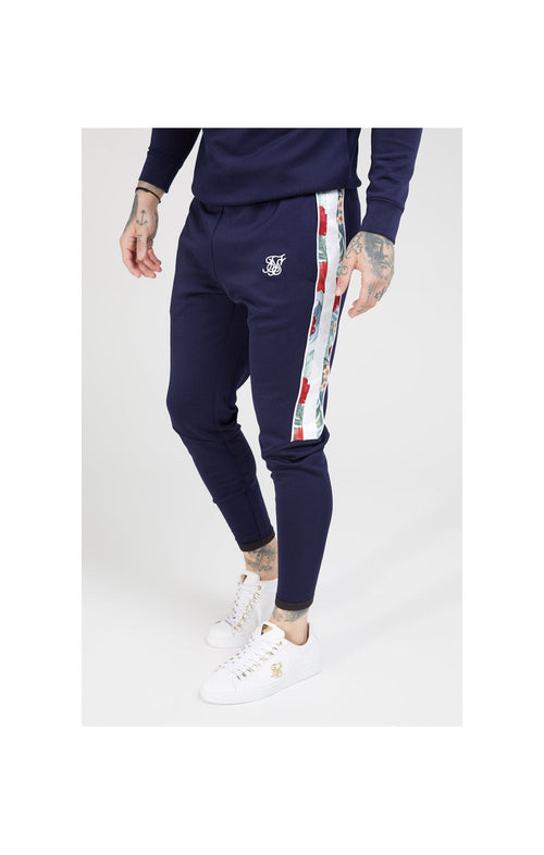 SikSilk Elasticated Cuff Panel Joggers – Navy
