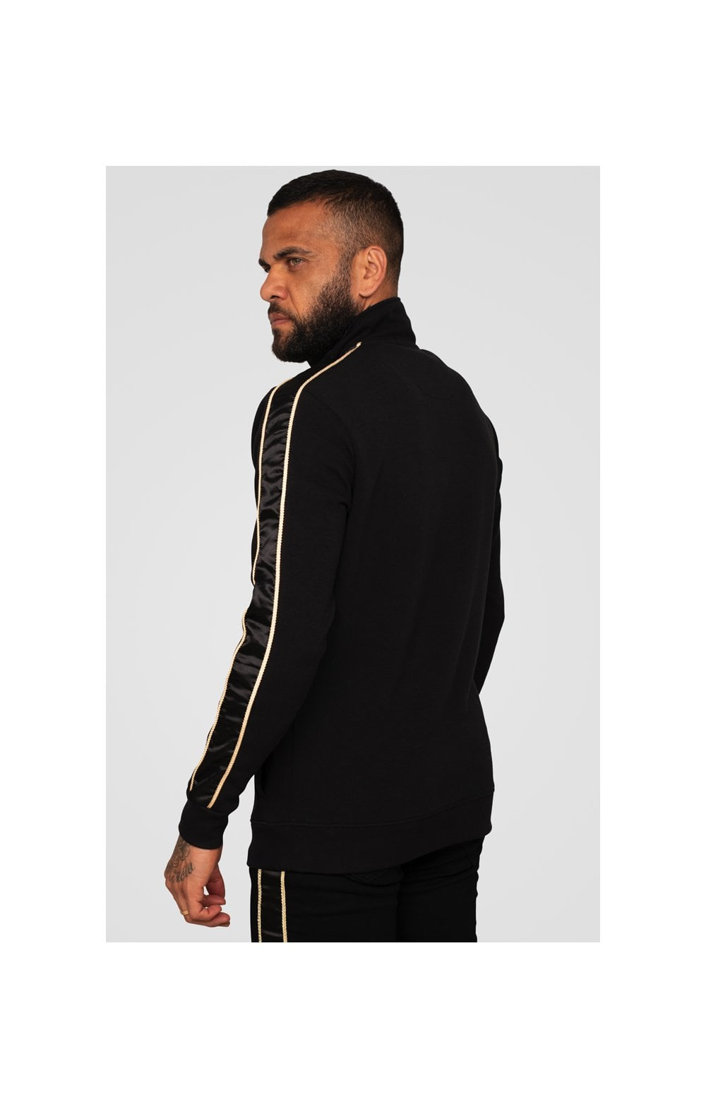 Load image into Gallery viewer, SikSilk x Dani Alves Quarter Zip Rope Track Top – Black (1)