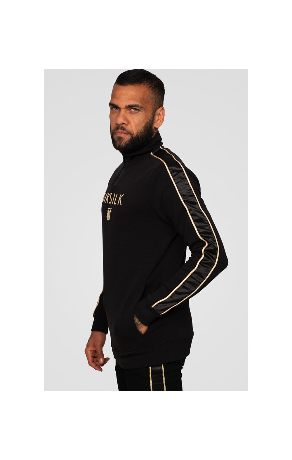 Load image into Gallery viewer, SikSilk x Dani Alves Quarter Zip Rope Track Top – Black (3)