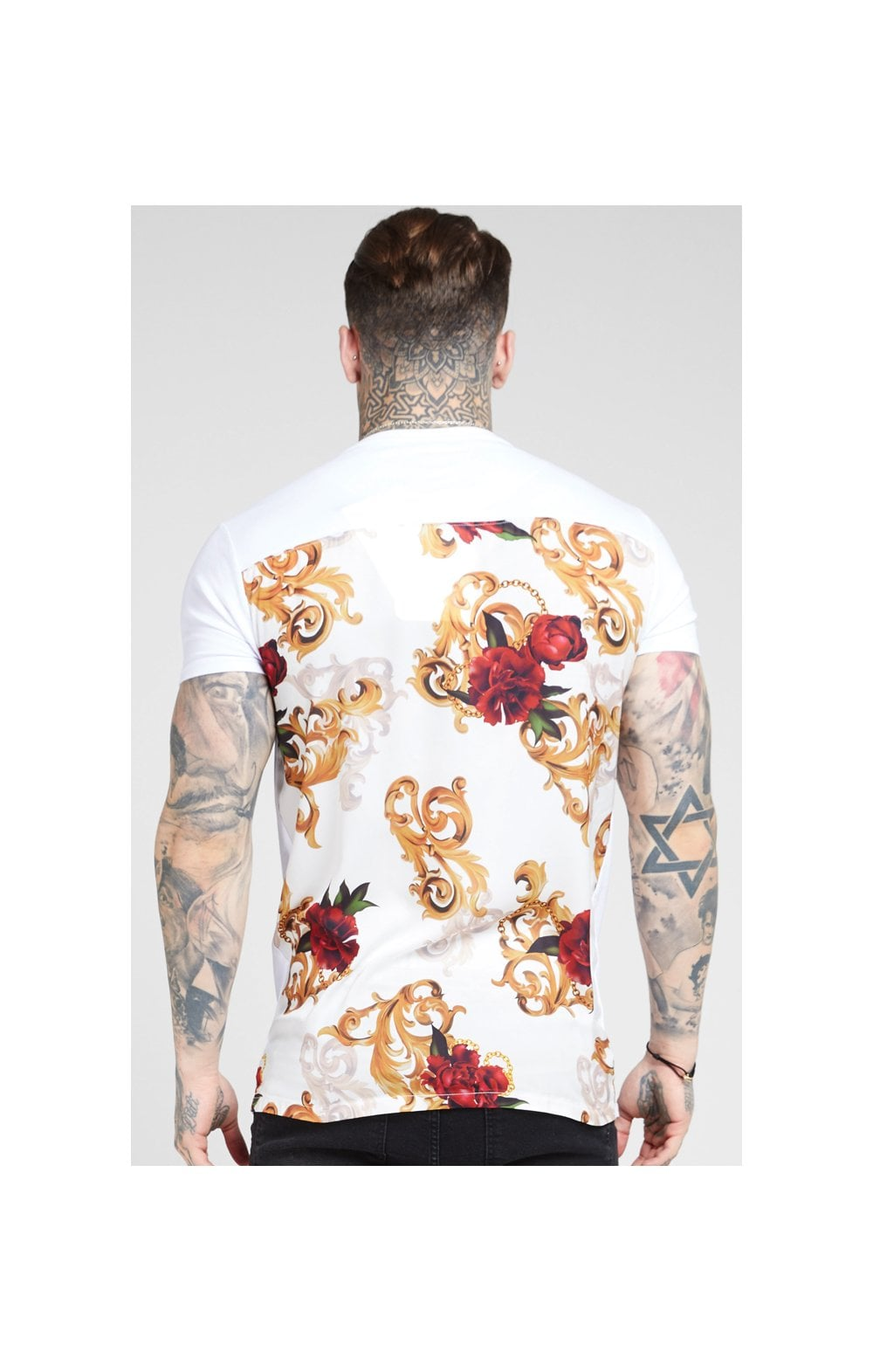 Load image into Gallery viewer, SikSilk S/S Reverse Collar Tee – White & Floral Elegance (4)