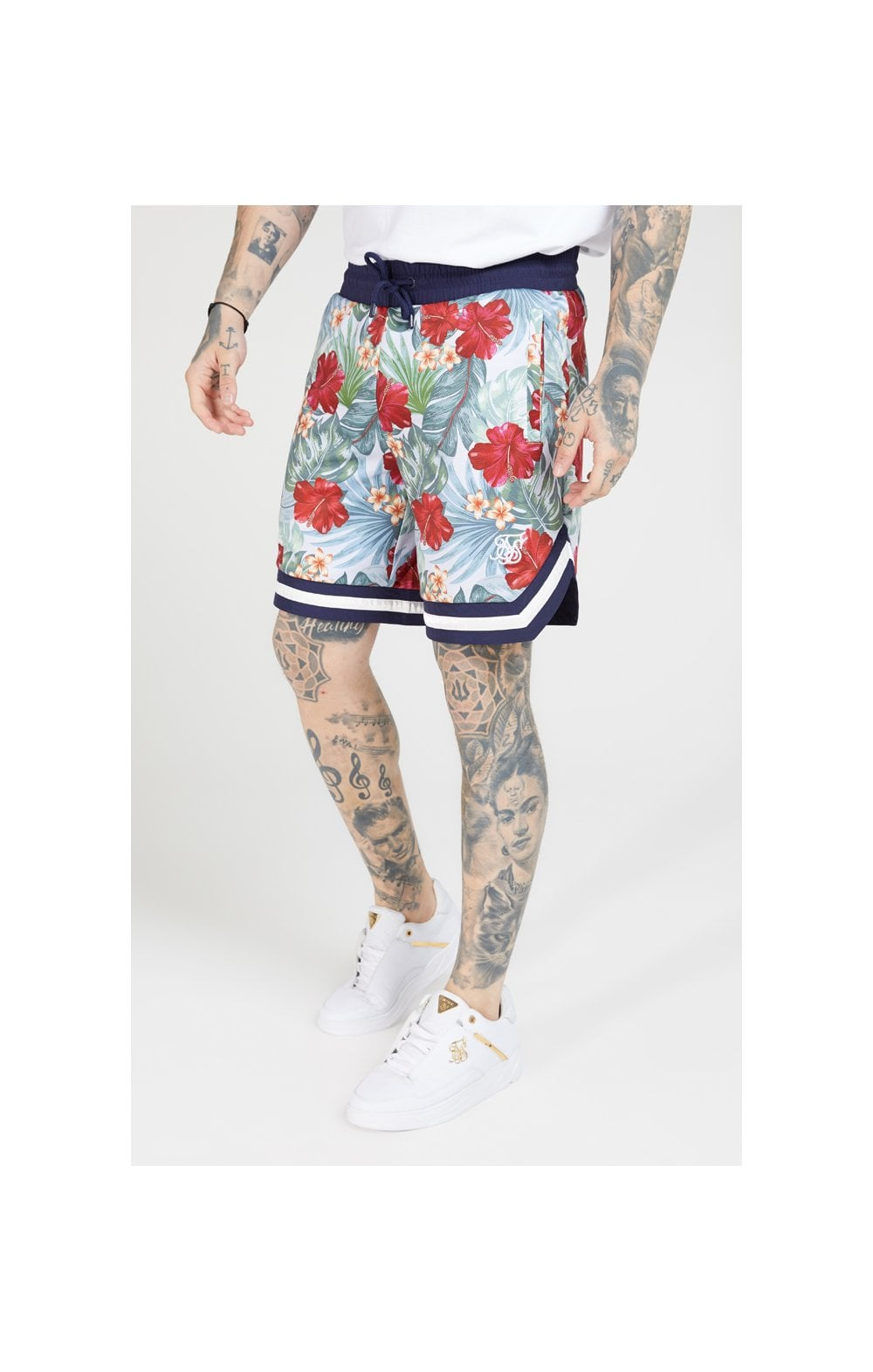 SikSilk 70's Floral Basketball Shorts - Navy & White