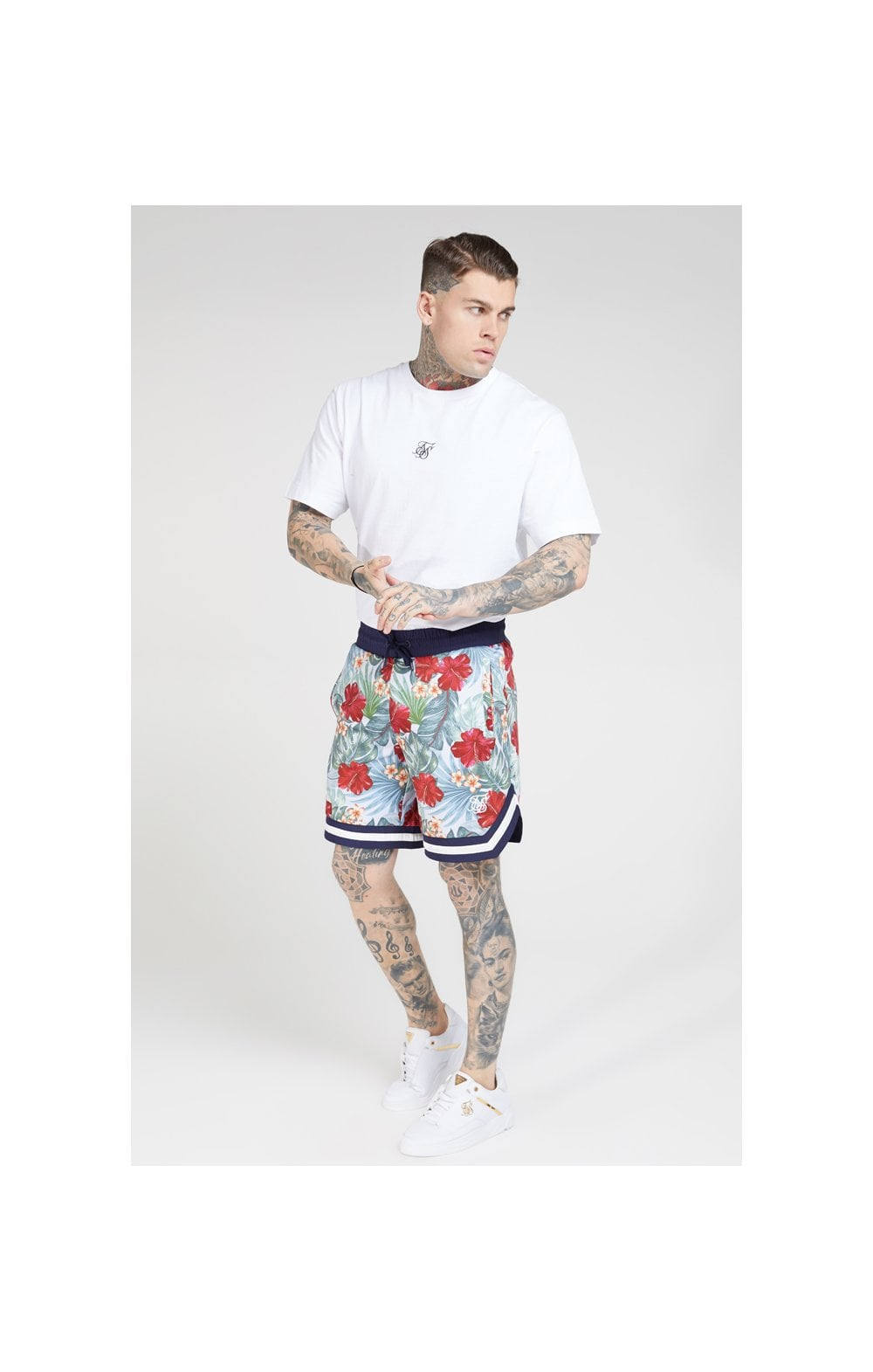 SikSilk 70's Floral Basketball Shorts - Navy & White (2)