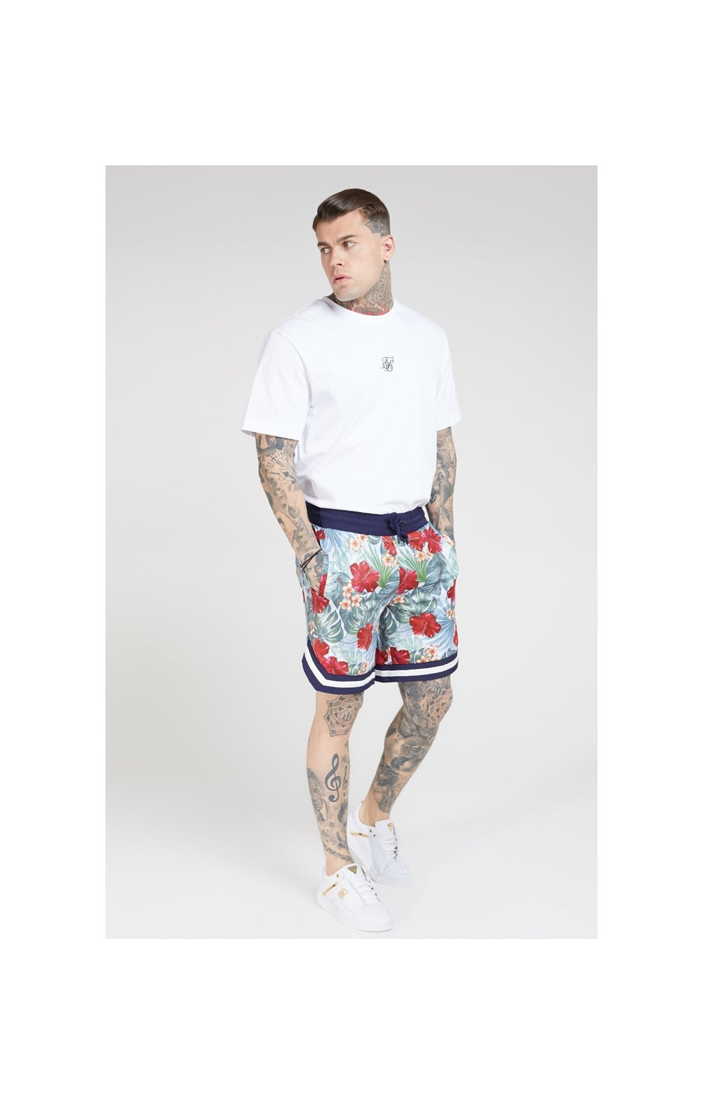 SikSilk 70's Floral Basketball Shorts - Navy & White (3)