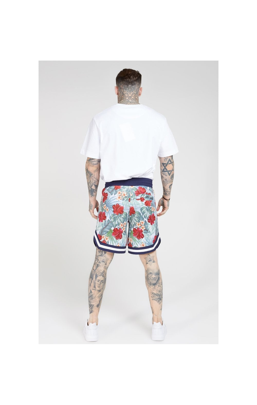 SikSilk 70's Floral Basketball Shorts - Navy & White (4)