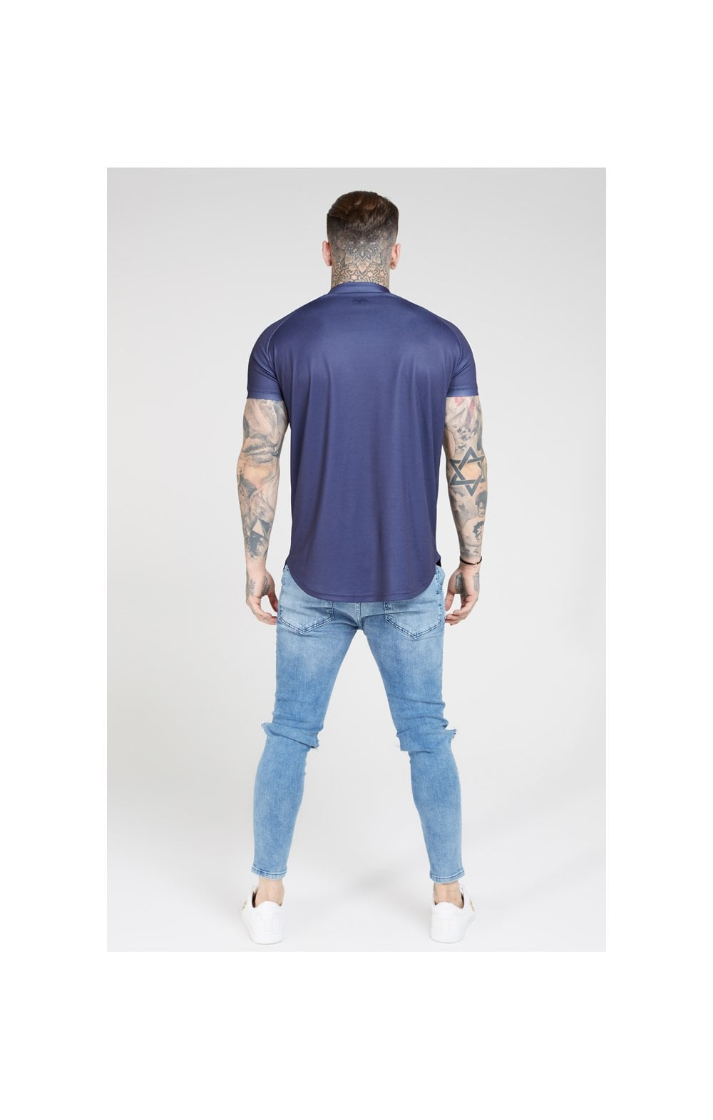 SikSilk S/S Baseball Tee – Navy (5)