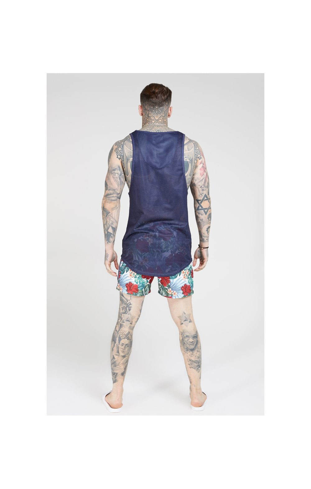 Load image into Gallery viewer, SikSilk 70's Floral Standard Swim Shorts – Navy & White (4)