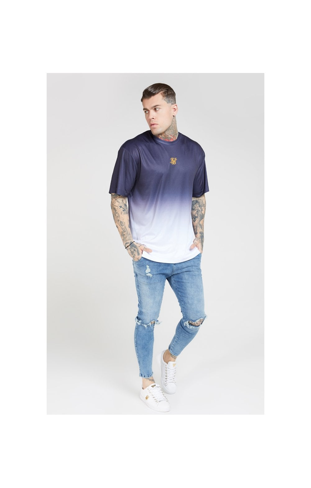 Load image into Gallery viewer, SikSilk S/S Essential Tee - Navy & White (2)
