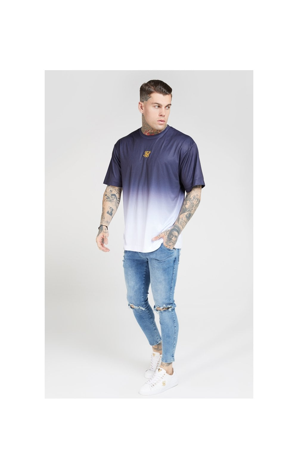 Load image into Gallery viewer, SikSilk S/S Essential Tee - Navy & White (3)