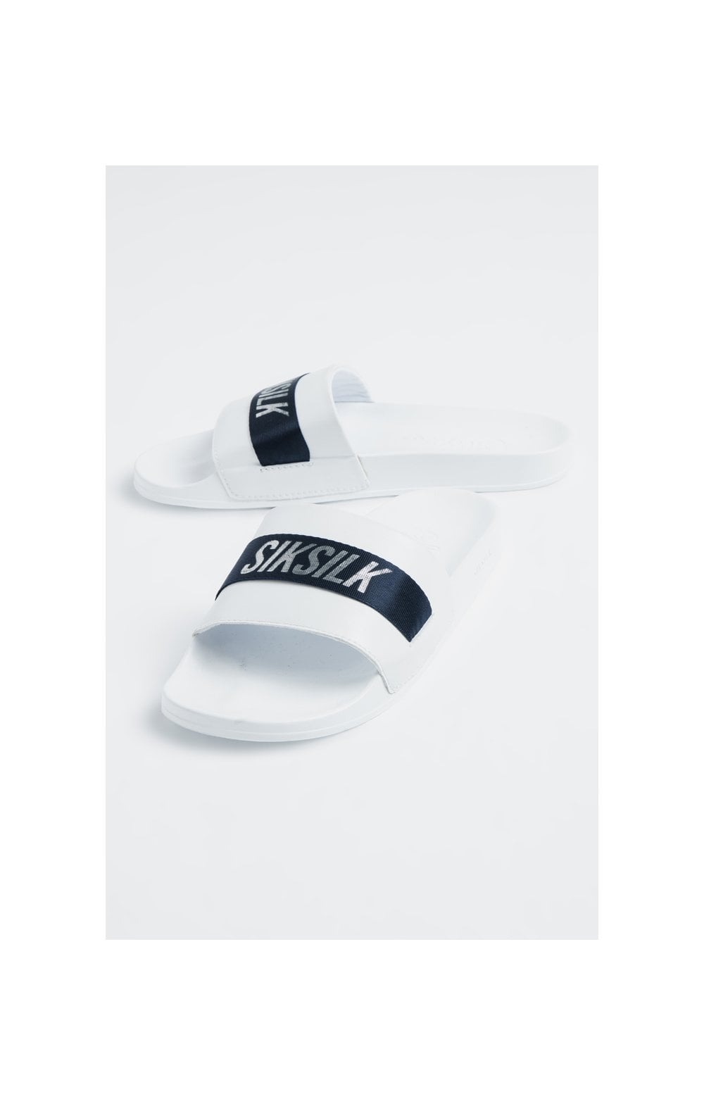 SikSilk Roma Tape Slides – Navy, White & Silver