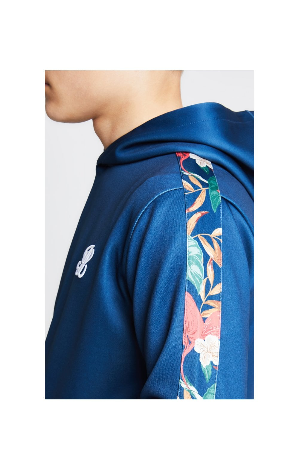 Illusive London Panelled Overhead Hoodie - Teal & Tropical Leaf (1)