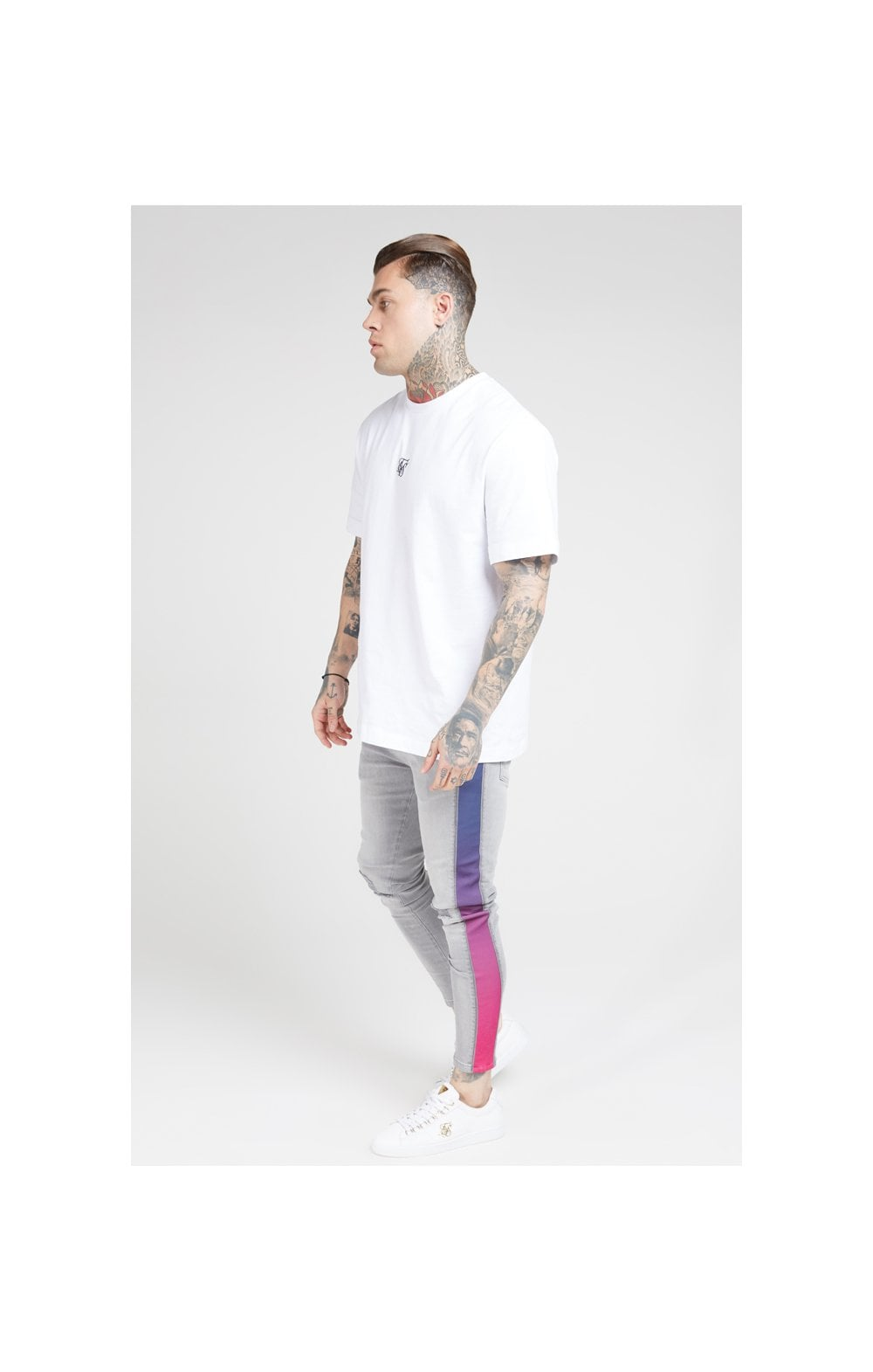 Load image into Gallery viewer, SikSilk Burst Knee Low Rise Denims - Washed Grey (5)