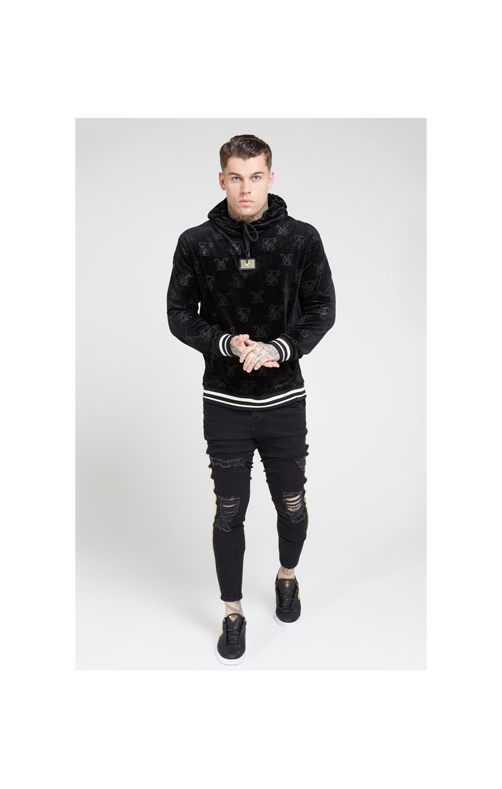 Load image into Gallery viewer, SikSilk Distressed Skinny Taped Denims - Washed Black (2)