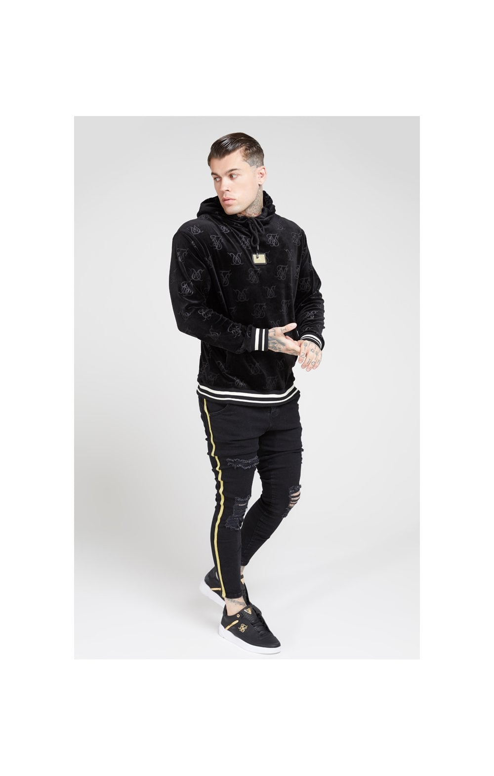 Load image into Gallery viewer, SikSilk Distressed Skinny Taped Denims - Washed Black (3)