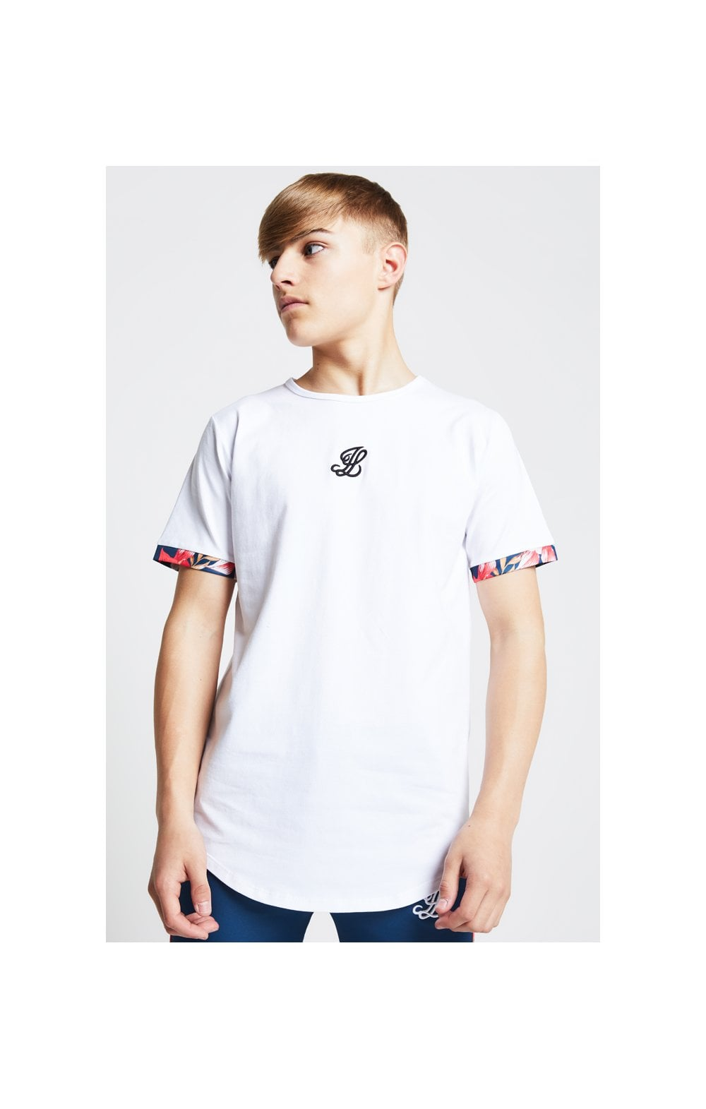 Illusive London Contrast Cuff Tee – White & Tropical Leaf