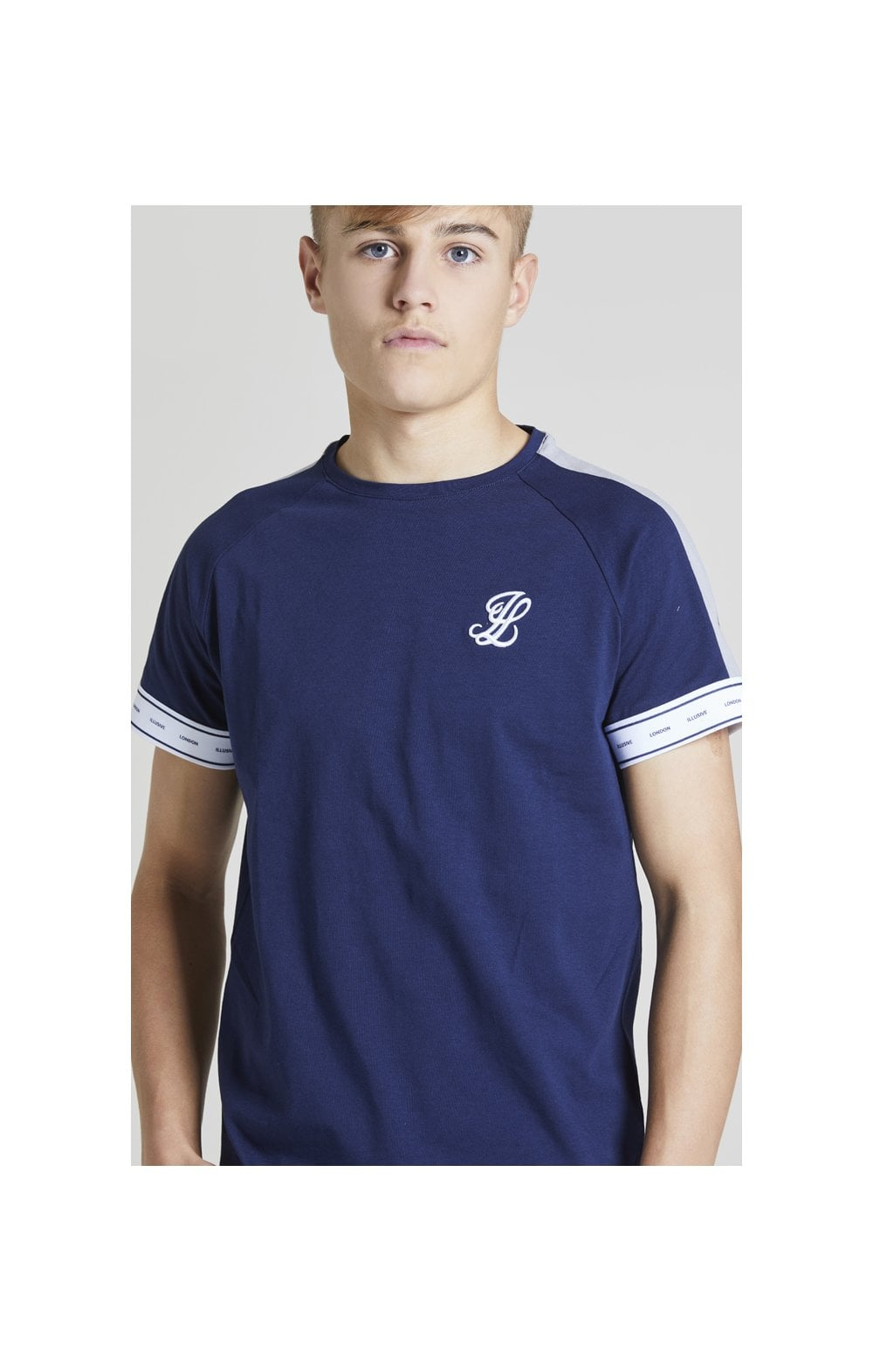 Load image into Gallery viewer, Illusive London Panel Tech Tee - Navy & Grey